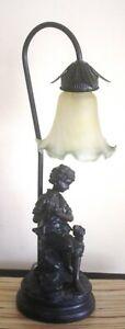 TABLE LAMP BRONZED EFFECT  BOY & DOG BY WIDDOP BINGHAM *