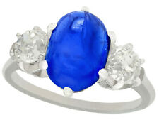 Antique Sapphire and Diamond Ring in Platinum Size O