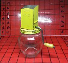 Vintage Kitchen Hazel Atlas Yellow Nut Grinder glass jar w/wood crank handle
