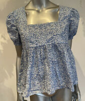 Influence Smock Top Blouse Size 8 & 12 White Blue Floral cotton Square Neck HB21