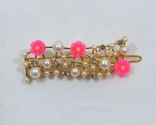 Womens hot pink Daisy faux pearl rhinestone sparkly gold tone bar barrette