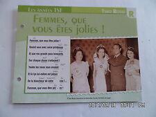 CARTE FICHE PLAISIR DE CHANTER TINO ROSSI FEMMES QUE VOUS ETES JOLIES