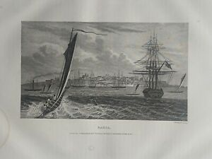1853 View of Salvador Bahia Brazil Engraving Original Antique Print
