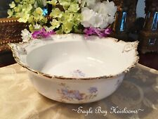 Handled Round Center Bowl - Leonard VIENNA AUSTRIA -Antique Porcelain - Blue Con