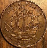 1959 GREAT BRITAIN ELIZABETH II HALF PENNY COIN