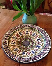 VINTAGE BOWL MOROCCO  red clay pottery hand painted LARGE ethnic wall piece