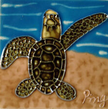 "Sea Turtle Art Tile 4""x4"" Decorative Ceramic New Backsplash Sand Water SD-112"