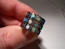 12 stone Solid Boulder Opal inlay  Stainless Steel Ring (Lot 03)