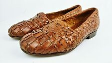 Moreschi Valda Brown Weaved Woven Leather Slip-On Loafers Made in Italy, Sz: 7.5