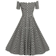 ACEVOG Retro Women Off Shoulder Cap Sleeve Plain Swing Dress AMW001