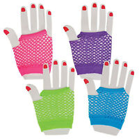 12 Pairs Neon Fingerless Fishnet Wrist Gloves Assorted Colors 80s Costume Props