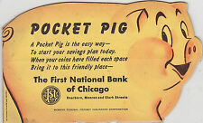 NOS 1950s BANTHRICO BANK Pocket Pig Coin Holdier -FIRST NATIONAL BANK OF CHICAGO