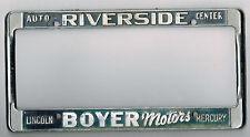 Riverside California Boyer Motors Lincoln Mercury Vintage License Plate Frame