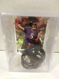 Joe Flacco Baltimore Ravens Mini Helmet Card Display Case Shadowbox Chrome Auto