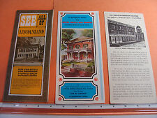 Abraham Lincoln 3 Brochures c.1975 Home, Office, marriage site Springfield Il