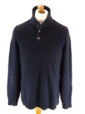 TED BAKER Mens Jumper Sweater 4 L Large Navy Blue Cotton & Nylon