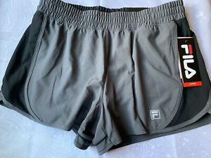 Large FILA Womens Grey Black  Waist Relaxed Running Shorts