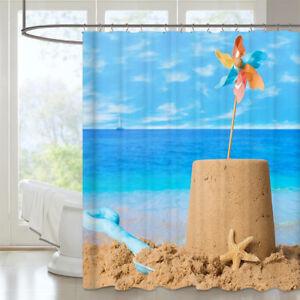 AOACreations Shower Curtain with Hooks Sun Sunset Beach Ocean Seashell Prints
