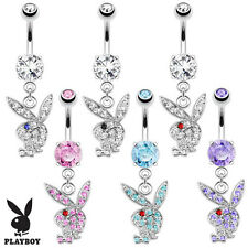 Authentic Playboy Bunny Paved Multi CZ Gem Dangle Belly Button Navel Ring 14G