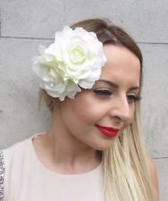 Large Double Cream Ivory Rose Flower Hair Clip Rockabilly 1950s Fascinator 2819