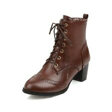 Dark Brown 45 Women's Lace-Up Chunky Brogue Motorcycle Low Heels Ankle Boots