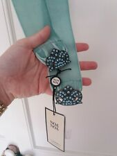 "BNWT Noa Noa Blue Velvet Waist Clincher Belt, Size Large, RRP £35, 35.5"" length"