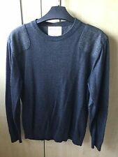 Burtons Men's Grey Jumper Size S With Elbow Patches