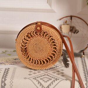 Handmade Woven Rattan Bag Women Straw Bamboo Circular Beach Summer Bohemian Bag