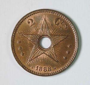 1888 Belgian Congo 2 Centimes Coin BU Brilliant Uncirculated