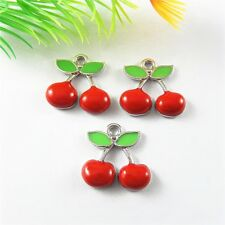 20pcs Silver Color Alloy Enamel Red Cherry Shaped Necklace Pendant Jewelry 51692