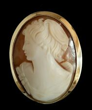 Oval shell cameo.9ct yellow gold mount . Neo-classical portrait. Birmingham 1990
