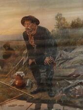Vasily Perov, Fisherman, Vintage Soviet Russian art print