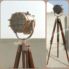 Handmade Copper Searchlight Floor Lamp With Tripod Nautical Stand Marine E27Bulb
