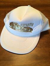 Vintage Corvette hat | snap back adjustable one size trucker | White / Gold