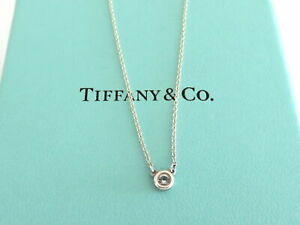 TIFFANY & CO Sterling Silver Aquamarine Color by the Yard Pendant Necklace