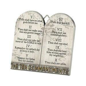 The Ten Commandments Tablets 3 Inch Metal Easelback Wall Cross Sign