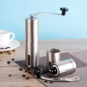 Manual Coffee Grinder Conical Ceramic Burr Mill Brushed Stainless Steel Portable