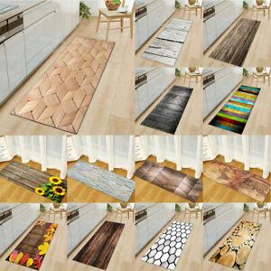 Rustic Wood Board Carpet Floor Mat Kitchen Rug Comfort Non Slip Runner Doormat #