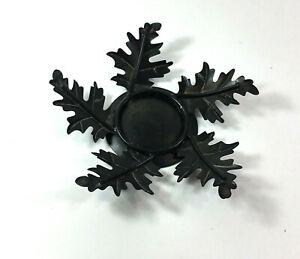 Fall Autumn Black Metal Oak Leaf Candle Holder