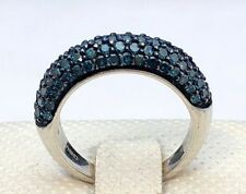 925 Sterling Silver 1 CTW Blue Diamond Pave Blue Rhodium Band