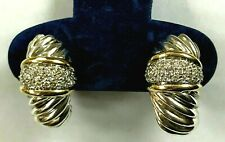 David Yurman 18k Yellow Gold Sterling Silver Shrimp Hoop Earrings Thoroughbre