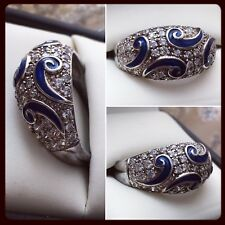 Vintage Cocktail Blue Enamel Cubic Zirconia Sterling Silver Dome Ring 💍 Sz 10