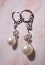 "White gold filled drop/dangle earrings with one white pearl and clear CZ""s"