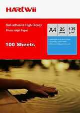 A4 135Gsm Self Adhesive Stick High Glossy Inkjet  Paper - 100 Sheets