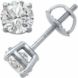 1/2 ct. White Sapphire Screw Back Round Stud Earrings in 14k White Gold/Silver