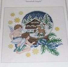 Snowball Angels Snowglobe snow globe cross stitch pattern winter Christmas