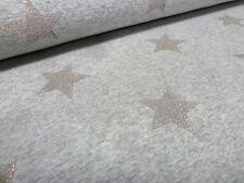 Stoff Sweatshirtstoff Alpenfleece Glitzer Sterne grau melange silber Kinderstoff