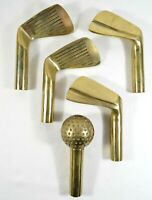 Set of 5 Replacement Brass Handles for Fireplace Tool Set Golf Ball Clubs! RARE!