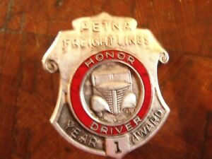 Vintage AETNA FREIGHT LINES 1 YEAR Honor Driver Award Pin Brooch
