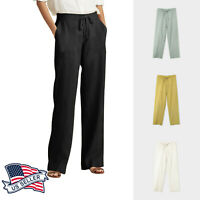 Women's Classic Slim-Fit Linen Pants with Waist Band